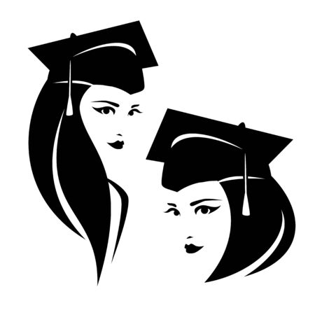 beautiful young woman in square academic mortarboard cap - graduate female student black and white vector portrait