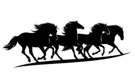 herd of wild mustang horses rushing forward - black vector silhouette outlines of running animals group