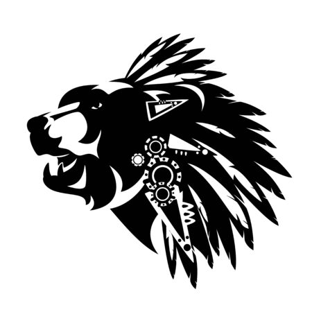 bear head with traditional native american chief feathered headdress decor - tribal style totem animal black and white vector design Vector Illustratie