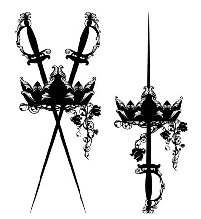 elegant crossed court swords with royal crown and rose flowers black and white vector design set