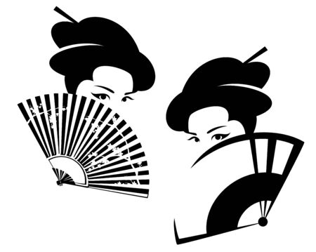 beautiful japanese geisha hiding face behind fan - black and white vector portrait of asian beauty Vecteurs