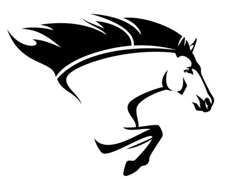 beautiful horse with flying mane - speeding forward stallion side view black and white vector portrait Vettoriali