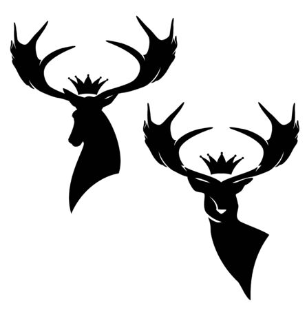 deer stag with large antler horns and royal crown - black and white vector silhouette design set of animal head Vektorgrafik