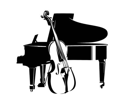 bass viol and grand piano instruments - jazz music duet concert black and white vector design Ilustrace