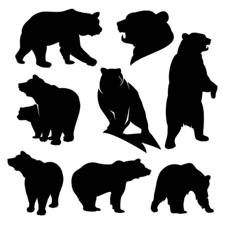 Wild grizzly and brown bear silhouette set