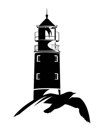 flying sea gull and lighthouse tower black and white vector outline for sea voyage concept