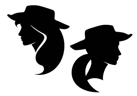 beautiful cowgirl profile head wearing cowboy hat - woman black and white vector silhouette portrait