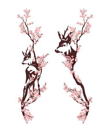 Beautiful roe deer standing among blooming sakura tree branches