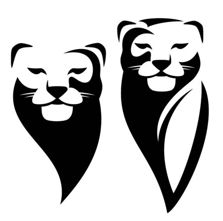 Lioness or wild puma black and white vector outline portrait