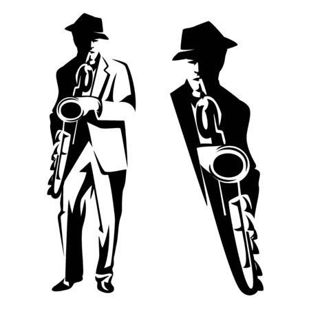 jazz man playing saxophone instrument - performing musician black and white vector outline set