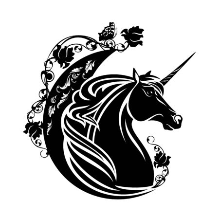 fairy tale unicorn horse with crescent moon, butterfly and rose flowers - sweet dreams concept black and white vector design
