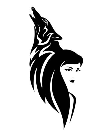 beautiful woman with long hair and howling wolf head - black and white vector portrait design