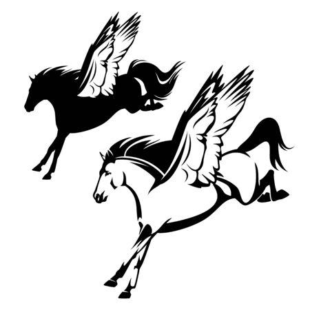 pegasus winged horse flying forward - greek mythology inspiration symbol animal black and white vector design