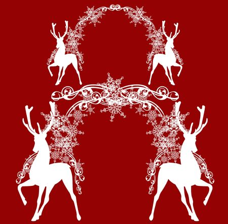 standing antler deer with festive new year or xmas arch made of snowflakes - monochrome vector silhouette design set
