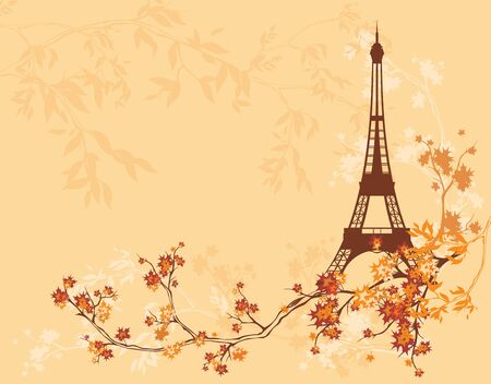 eiffel tower among autumn tree branches - copy space vector background of fall season in Paris