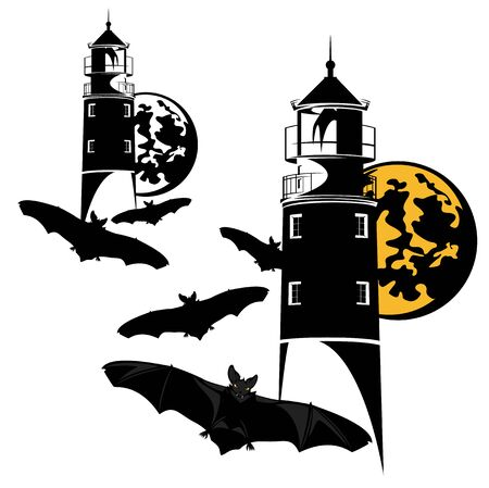 haunted lighthouse and flying flock of vampire bats on halloween night vector design set Ilustração