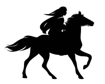 arab rider wearing tradtional head scarf riding beautiful stallion - man and horse black and white vector silhouette outline