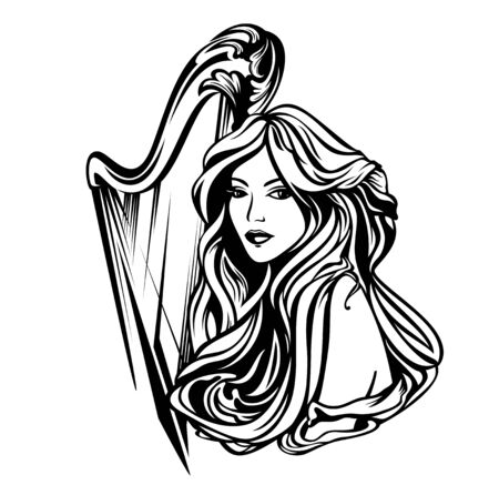 beautiful woman with long hair and harp musical instrument - classical music muse art nouveau style black and white vector portrait Stock Illustratie