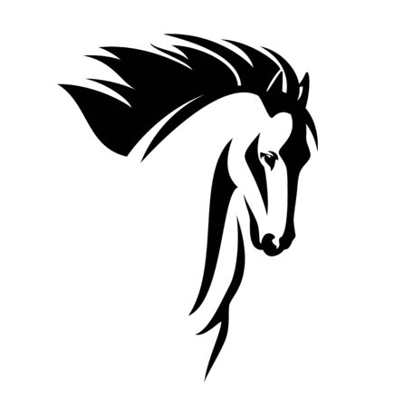 wild mustang horse with flying mane black and white vector head portrait
