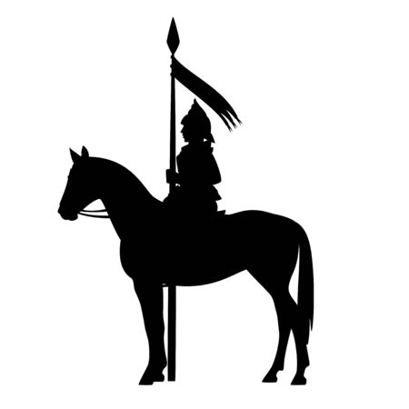 medieval knight holding banner spear and riding a standing horse - fairy tale hero warrior black vector silhouette outline