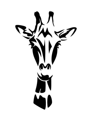 beautiful african giraffe looking forward - wild animal black and white vector head portrait
