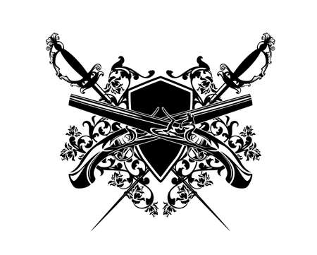 crossed pistols and epee swords with heraldic shield among rose flowers - antique style duel club black and white vector coat of arms design