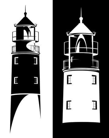 lighthouse tower from Baltiysk port (Kaliningrad region) black and white vector silhouette outline design set