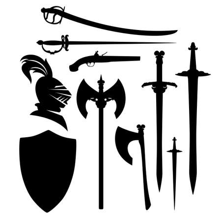 antique sword, blades and weapon black and white vector silhouette set - medieval heraldic design collection with shield and knight head Archivio Fotografico - 151332965