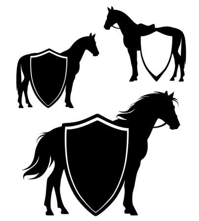 standing horse side view silhouette and blank heraldic shield black and white vector design set Ilustração