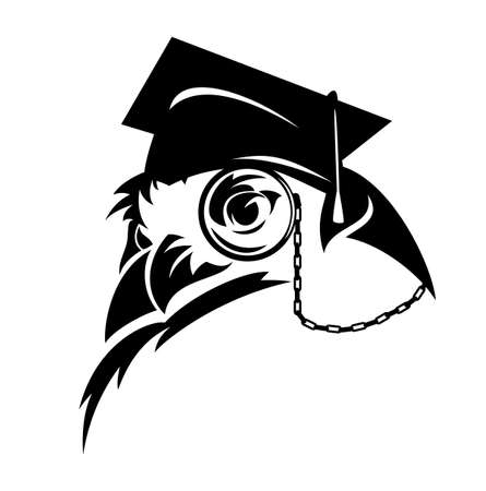 wise professor owl wearing eye glass and mortarboard cap - academic education black and white vector symbol Ilustração