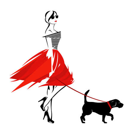 vector design of beautiful stylish woman wearing fashion clothes walking with her pet dog on the leash Ilustração Vetorial