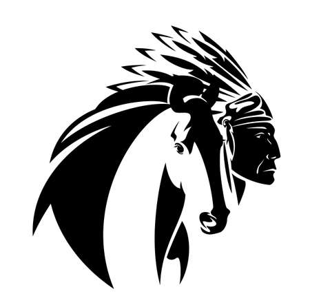 native american tribal chief wearing feathered headdress nad wild mustang horse head - black and white vector portrait outline