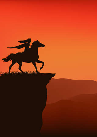 medieval princess riding horse at sunset cliff - vector fairy tale silhouette scene 向量圖像