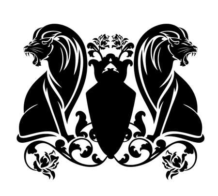 two roaring lions sitting by heraldic shield among rose flowers - antique style coat of arms black and white vector design