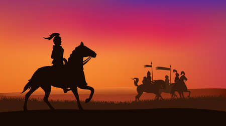 medieval knights riding horses at sunset field - vector silhouette scene of fairy tale adventure