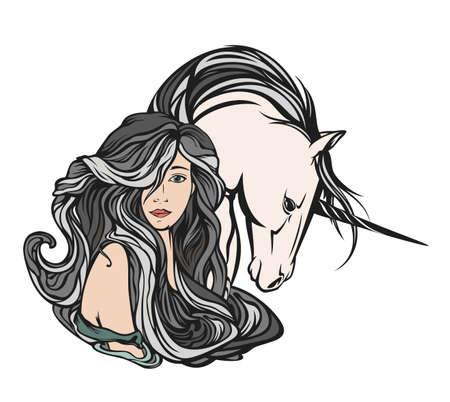 beautiful nymph woman with long gorgeous hair and mythical unicorn horse art nouveau style vector portrait