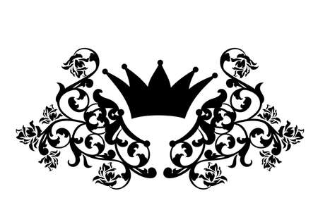 medieval style royal crown among heraldic rose flowers decor - black and white vector outline design Stock fotó - 155369159