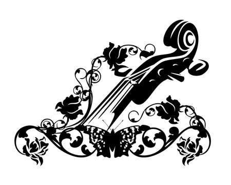 violin neck decorated with rose flowers and butterfly - classical music and string instrument harmony black and white vector design