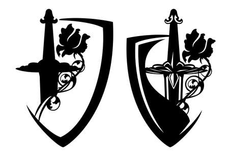 medieval knight sword hilt and rose flower inside heraldic shield - security and bodyguard concept black and white vector design set