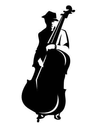 jazz man playing contrabass - blues performer black and white vector outline