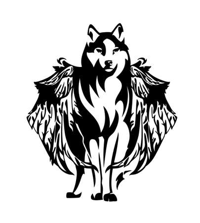 black and white vector outline of standing mythical winged wolf simuran