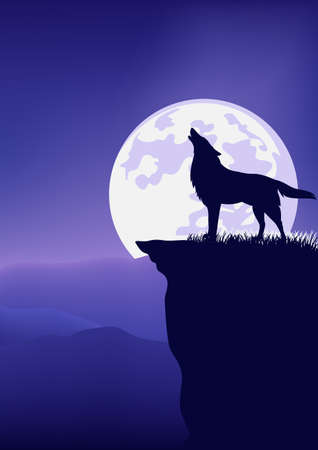 lonely wolf standing on high cliff and howling against full moon disk - wild nature night scene vector landscape