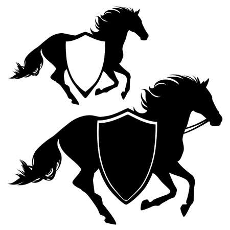 running horse and heraldic shield for horseback riding school or club black and white vector emblem Illusztráció
