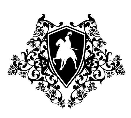 medieval hero knight riding horse in heraldic shield among rose flower decor - black and white vector coat of arms design Illusztráció