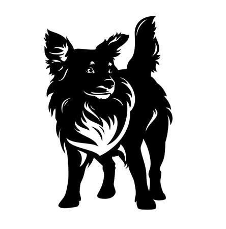 mixed breed dog standing and watching attentively - cute pet black and white vector portrait
