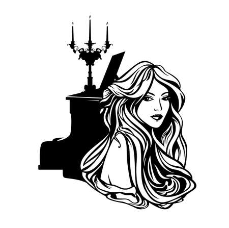 beautiful woman with long hair and piano with candle stick - vintage style musician lady portrait Illustration