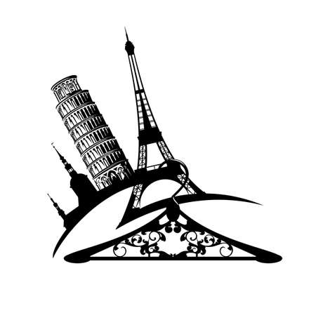 european landmarks and empty clothes hanger - international fashion shopping black and white vector design