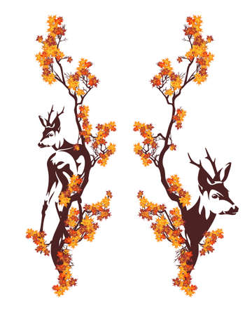 beautiful wild deer standing among autumn tree branches - fall season wildlife vector design set