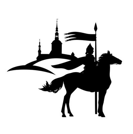knight guard with spear riding horse with ancient city in the background - medieval fantasy hero black and white vector silhouette