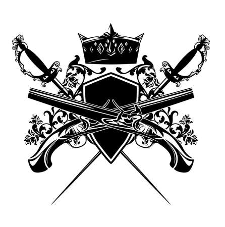 antique duel pistols, crossed epee swords and royal crown with heraldic shield among rose flowers - vintage style security concept black and white vector design Векторная Иллюстрация